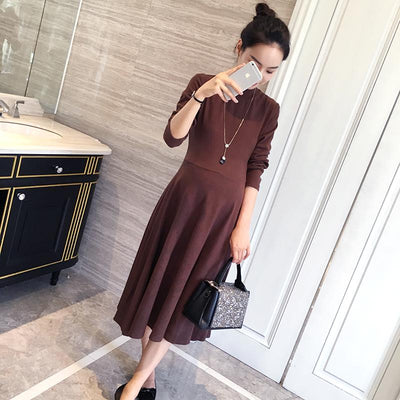 - 0099# 2017 Autumn Korean Fashion Maternity Long Dress Slim Big Bottom Clothes for Pregnant Women Cotton Pregnancy Clothing -   jetcube