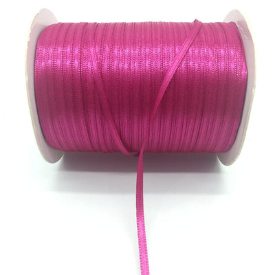 "- (20Yards/lot)1/8"" 3mm Silk Satin Ribbon Polyester Ribbon Wedding Christmas Party Decoration DIY Gift Packing - Deep rose  jetcube"