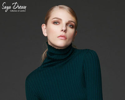 - 100%MERINO WOOL women long sleeve solid RIB knit turtleneck Heaps collar PULLOVERS sueter sweater top tunic jumper Basic new -   jetcube