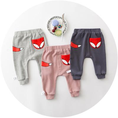 - 0-2 years 2017 Baby Pants Solid Color Cotton Children Pants Autumn Winter Fox Print Children pants -   jetcube