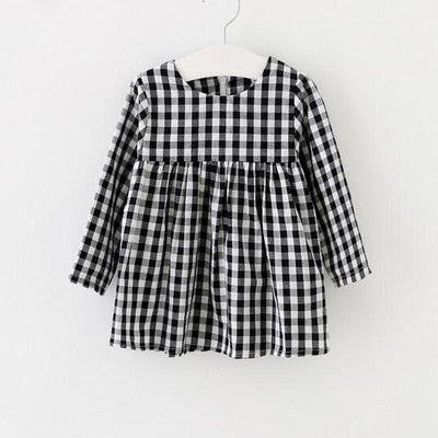 2017 girl in spring lattice long sleeve dress girl child princess dress black and white checkered clothing girl baby clothes  UpCube- upcube