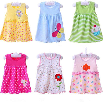 - 0-1-2T Cute & Nice printing Infant baby cotton dress toddler children girl's Various styles dresses summer clothes - Design 4 Random / 12M  jetcube