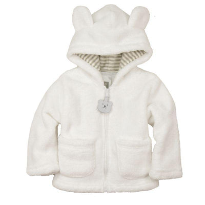 - 2014 spring autumn Coral velvet baby jacket/coat long-sleeved hooded infant boy girl carter thick tops - White / 0-3 months  jetcube