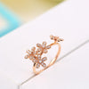 - 0.29ct SI/H Natural Diamonds Flower Women Engagement Wedding Ring Solid 18k Rose Gold Elegant -   jetcube