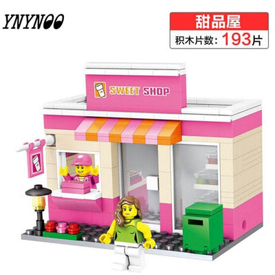 - (YNYNOO)Single Sale Mini Street Scene Retail Store Shop Architecture With Building Blocks Sets Model Toys FW138 -   jetcube