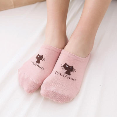 - 10 Pcs=5 Pairs Girls Cat Pattern Cotton Sock Slippers Low Cut Invisible Ankle Socks Gel Anti-slip Cute Short Socks For Women -   jetcube
