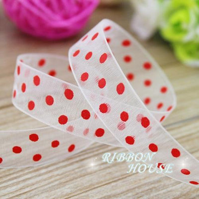 - (10 yards/lot) printed organza ribbon colored champagne small dots gift wrap decoration ribbons -   jetcube