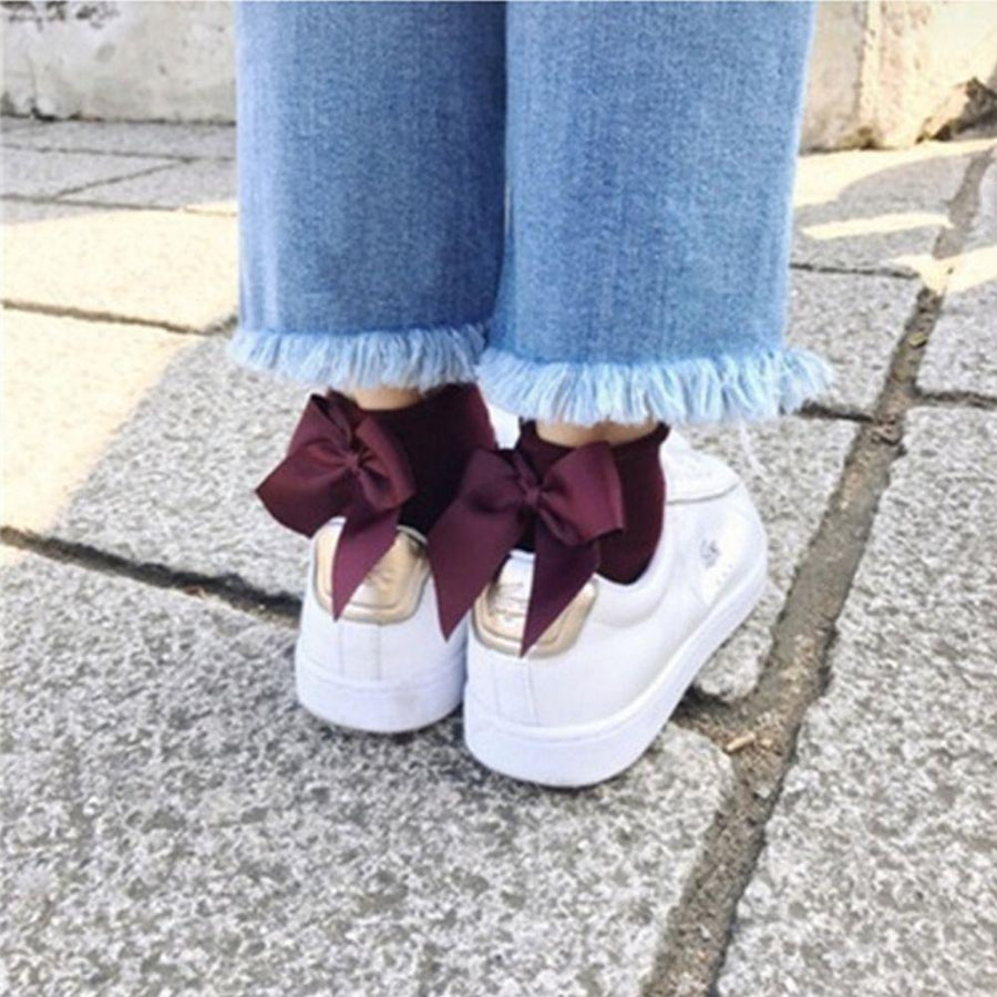 4aa23c28436 1 Pair Fashion Style Women Cotton Socks with Big Bow Solid Casual Female  Short Socks