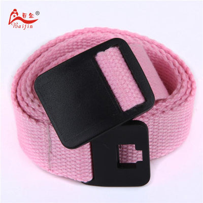 - 2.5cm webbing Waist Belt Candy Color Mens Womens Unisex Plain Webbing Canvas plastic Buckle Belt Personal Tailor - Pink / 100cm  jetcube