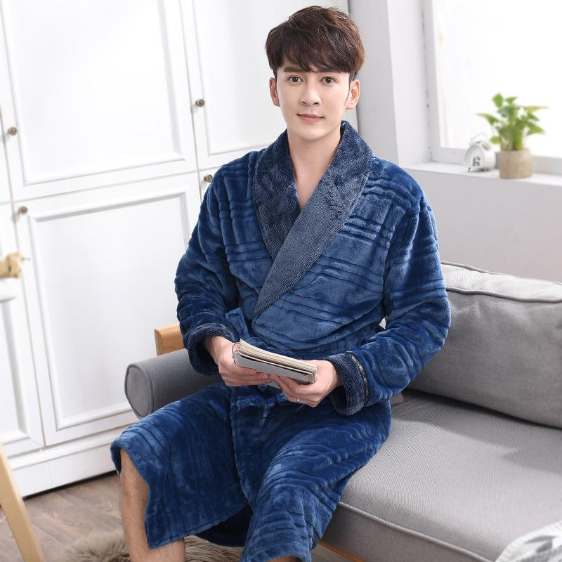 Candy dance 2017 autumn and winter thickening long design male robe winter flannel warm sleepwear coral fleece plus size lounge