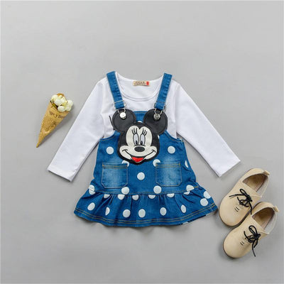 - 0-4 ages cotton 2017 autumn winter cute character children baby girl clothing dress+T-shirt baby girl dress clothing set - White / 12M  jetcube