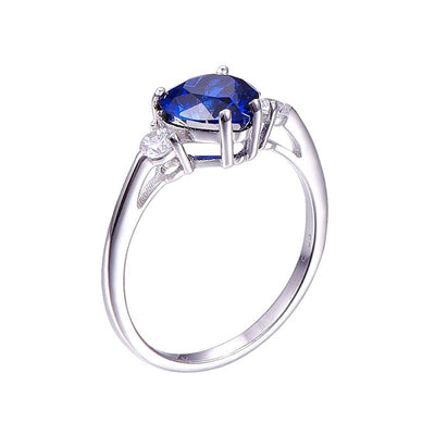 - 2.25Ct Genuine 925 Sterling Silver Hot Sale Heart Ring Brand Jewelry Classic s925 ring Sapphire Jewelry Love Rings -   jetcube