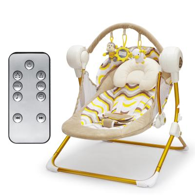 - 0-18 month newborn Brand Cradle Electric Music Rocking Chair Automatic swing Sleeping Basket Golden Frame 8GB Bluetooth USB - golden  jetcube