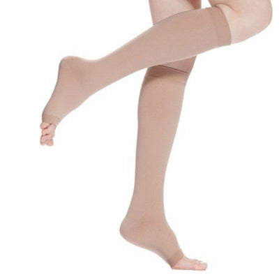 - 18-21mmHg Knee High Compression Stockings Men Women Elastic Leg Support Stockings Open Toe S-XL -   jetcube
