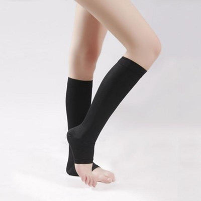 - 18-21mm Hg Stockings COMPRESSION KNEE HIGH Open Toe Men Women Support Stockings New Sale - Black / For L XL  jetcube