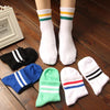 Rainbow Socks Women Men Two Stripes Cotton Retro Socks Old School Hiphop Skate Short Classic harajuku white socks with stripes