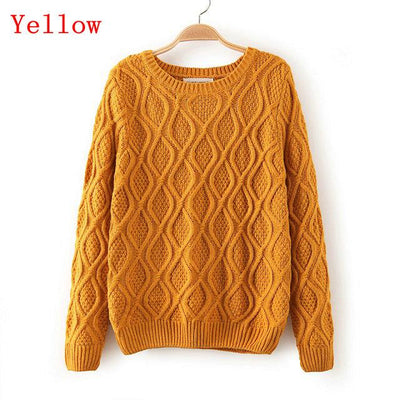 - 12 Color ! Hot New Autumn Winter Women Fashion Cotton Elastic Sweater Lady Knitted Long Sleeve O-neck Woolen Pullovers - 012Yellow / L  jetcube