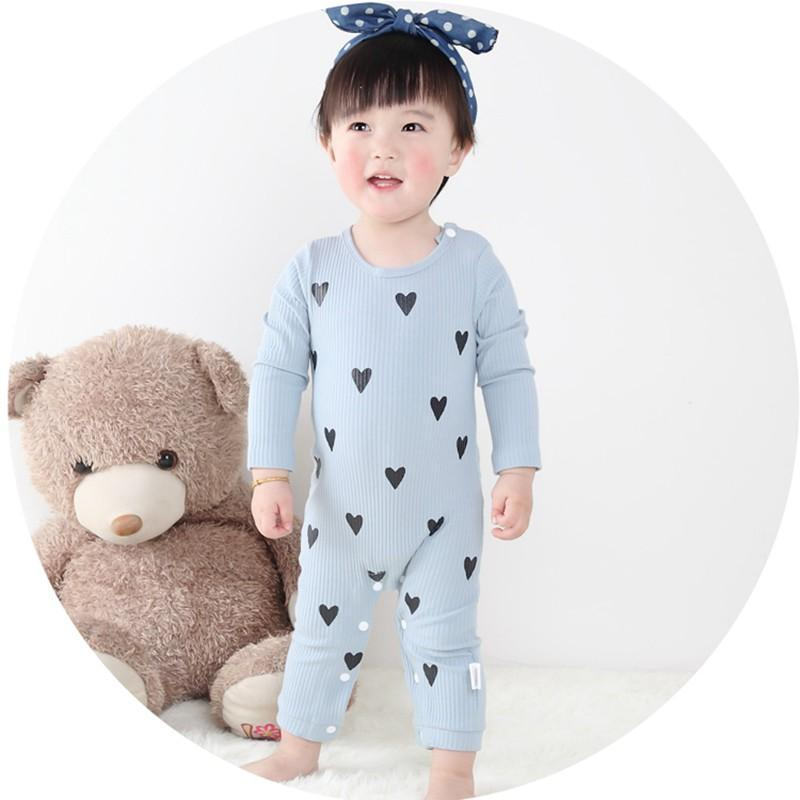 - 0-24 Months High Quality New Born Baby Girls Boy Romper Clothes Cute Heart Cotton Girls Long Sleeve Jumpsuit Pink Blue - Blue / 0-3 months  jetcube