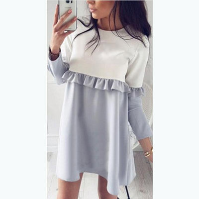 2017 Autumn Fashion Patchwork Ruffles Straight Dress Women Fall Causal Loose Stitching Long Sleeve O-neck Mini Dresses  dailytechstudios- upcube