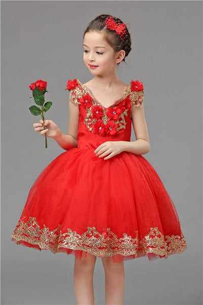 - 2-12 years Kids party dress of girls Girls Christmas dress new high-grade design children princess dress girl new Year dress - Red / 10  jetcube