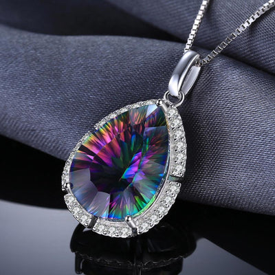 - 12ct Genuine Mystic Rainbow Fire Topaz Pendant Charm Solid 925 Sterling Silver Fine Gem Stone Jewelry Women 2016 New Brand -   jetcube