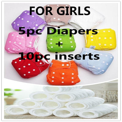 - 10 pcs inserts+5pcs Diapers Cotton Reusable Baby Diapers Cover Free Size Adjustable Fralda Winter Summer Version Cloth Diaper -   jetcube