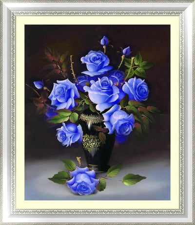 - &% 4 colors roses Diamond Embroidery 5D Diamond Painting Cross Stitch Kits Mosaic crystal Round Drill picture around mosaics - blue  jetcube