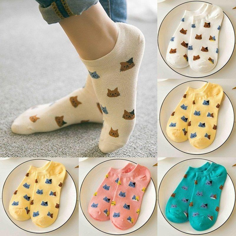 1 Pairs Women Funny Socks Casual Boat Low Cut Summer Style Candy Color Funny Cute Cats Faces Short Ankle Socks Crew Hot New