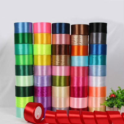 - (25 yards/roll) 2'' (50mm) single face Satin Ribbon Gift Packing Christmas Ribbons Wedding Party Decorative DIY Crafts supplies -   jetcube