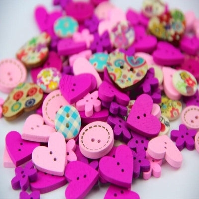- 100pcs DIY 15mm Pink Purple Color Mix Shapes Wood Button Sewing Craft 2 Holes Wooden Buttons Clothes Scrapbooking Decor 40g -   jetcube