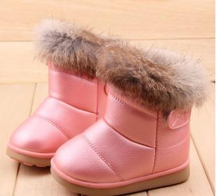 - 2016 fashion children shoes children boots snow boots girls boots cotton shoes leather - pink design 2 / 10.5  jetcube