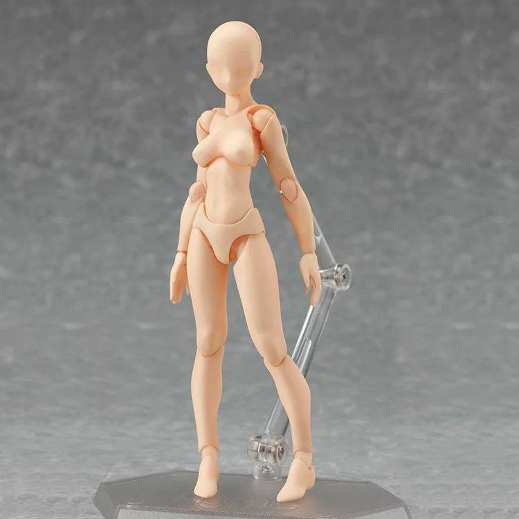 VAlink 13-15cm Artists Sketch Movable Limb Action Figure Model,Flexible Body Human Mannequin Kit,Articulated Kids Student Assemble Painting Toy,with Display Base and Pose Parts A Gray