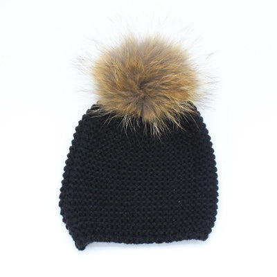 - 2016 Fashion Knitted Baby Hats Boy Winter Outdoor Ear Protection Beanies Caps Pom pom Real Fur Hat Kids - Black  jetcube