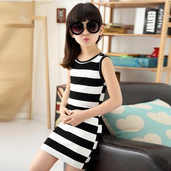 2017 Girls dresses in black and white stripes 100% Cotton kids clothes sleeveless dress vest dresses for teens baby girl clothes  UpCube- upcube