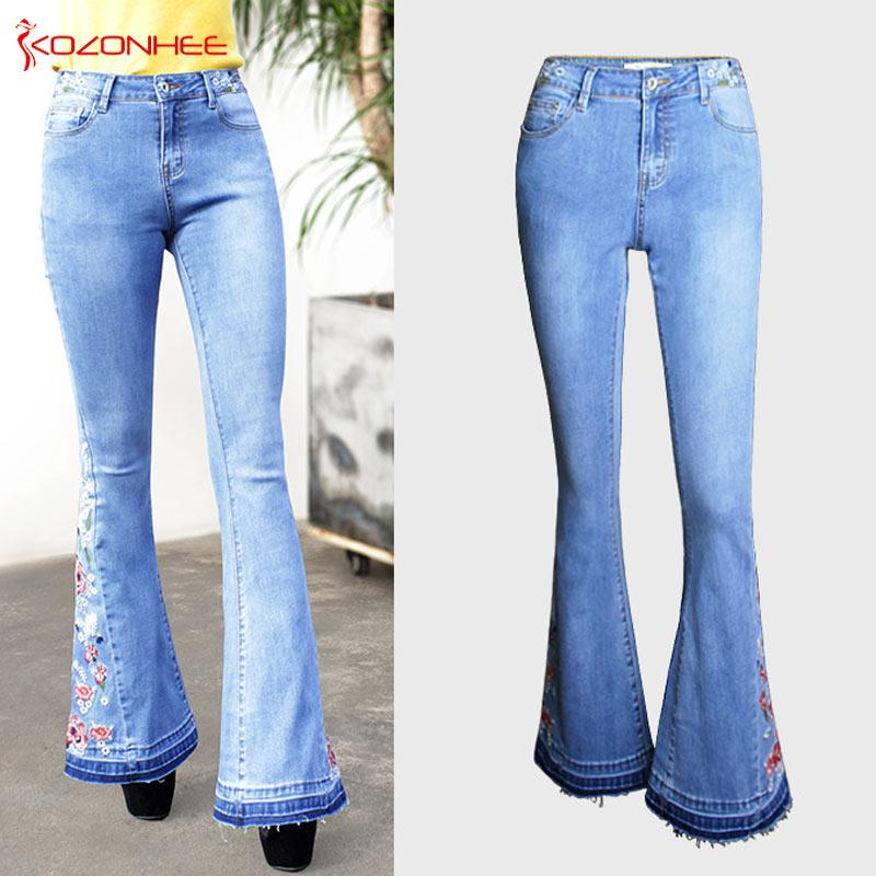 Embroidery Stretching Flare Jeans Women Stretching Bell-Bottoms Jeans For Girls Trousers for women Jeans Large Size A#k97