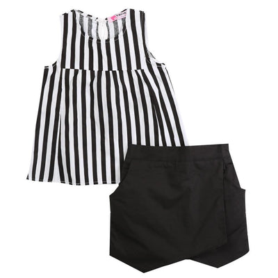 - 2015 Kids Baby Girls Vertical Stripe Sleeveless Tops Blouse Black + Short Pants 2pcs Outfits Summer Clothes 2~7Y - as the picture / 2T  jetcube