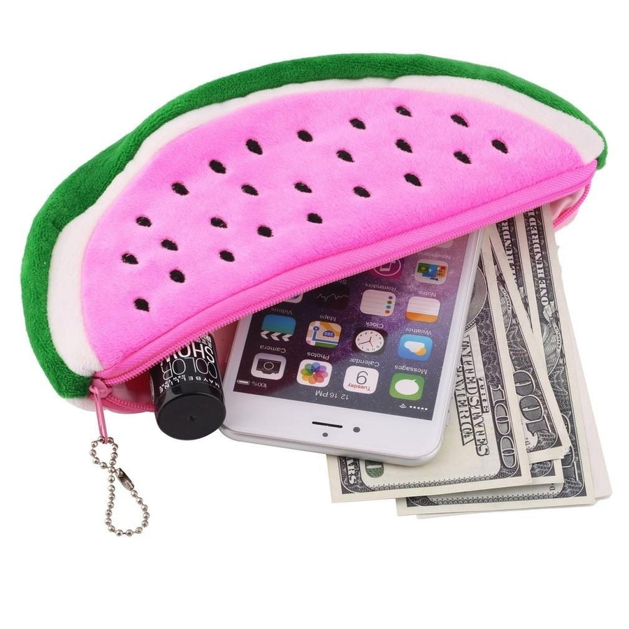 - 1PC Watermelon Plush Stationery Pencil case Pen Purse Bag Lovely Velishy Fashion Cosmetic Bags & Cases 15*9cm -   jetcube