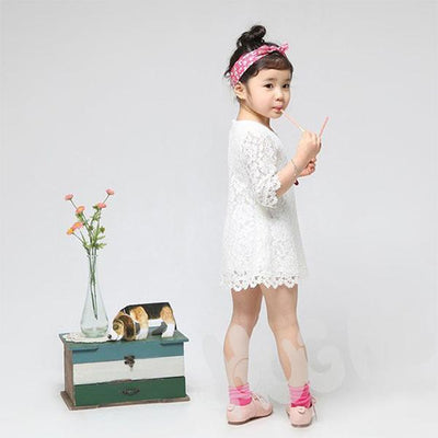 - 2-7Y Sweet Kids Baby Girl Sets Princess Dress Clothing Floral Flower Lace Party Dress -   jetcube