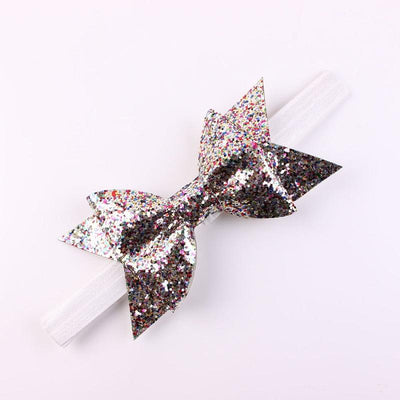- 1PC Newborn Flower Bow Glitter Elastic Headband For Girls Pretty Headbands Hairband Hair Accessories Gold Silver -   jetcube