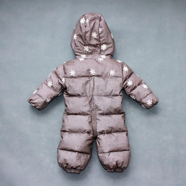 - 0-2 years old baby winter down jumpsuit Down climb clothes with cap Snowflakes stripe splicing -   jetcube