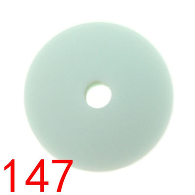 - 100pcs Flat Lentils Silicone Teething Beads Teething Necklace Abacus Silicone Bead Baby Teether Spacer Beading12*6MM JETM.HH - by020147Mint green  jetcube