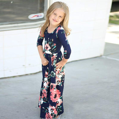 2017 Girls Dresses Autumn Cute Baby Girls Hit Color Long Dress Children clothes Casual Cotton Beachwear Maxi Dress fit 2-10T  UpCube- upcube