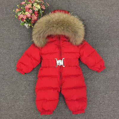 0-4 Years Thick Kids Snowsuit Toddler Boys Girls Winter Outwear Coat Snow Wear Down Jacket Real Fur Hodded Warm Jumpsuit Z105  UpCube- upcube