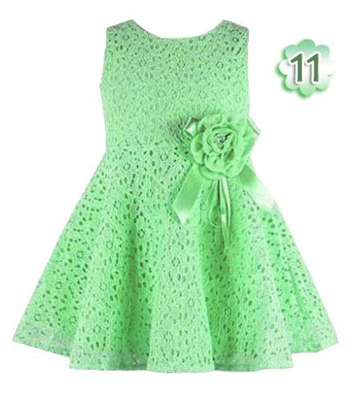 - 0-2 Years New Gift Summer Lace Vest Girls Dress Baby Girl Cotton Dress Chlidren Clothes Kids Party Clothing For Girls - Light Green / 12M  jetcube