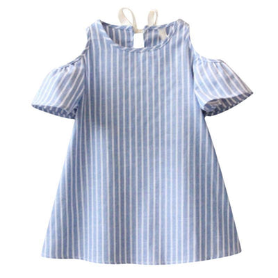 - 2-7Y Blue Striped Baby Girl Dress for Party Girls Summer Dresses Kids Clothes Off Shoulder Cotton Mini Dress Vestidos Mujer D25 - Striped Dress / 24M  jetcube
