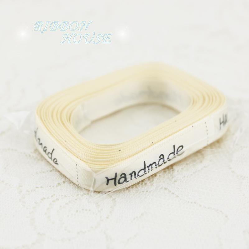- (10 yards/lot) 10mm White printed Handmade ribbon colored romantic gift wrap ribbons -   jetcube