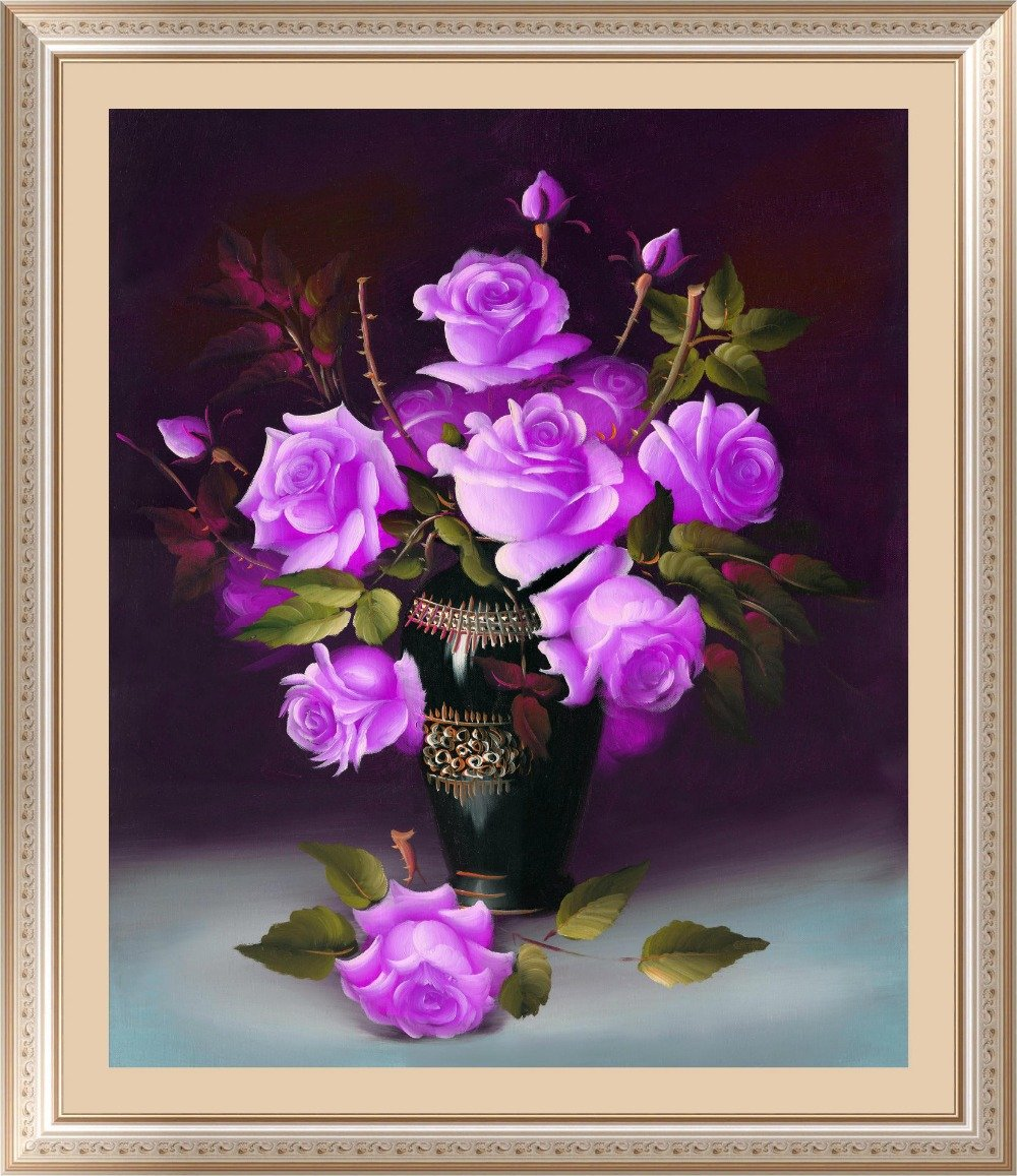 - &% 4 colors roses Diamond Embroidery 5D Diamond Painting Cross Stitch Kits Mosaic crystal Round Drill picture around mosaics -   jetcube