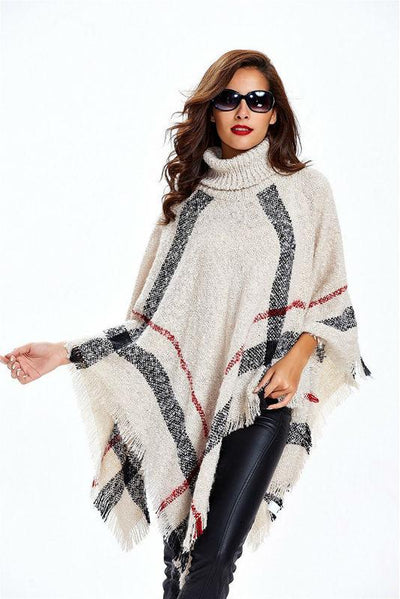 - 11th,Nov Plus Size Women's Wool Plaid Cardigan Turtleneck Cape Batwing Sleeve Knit Poncho Sweater -   jetcube
