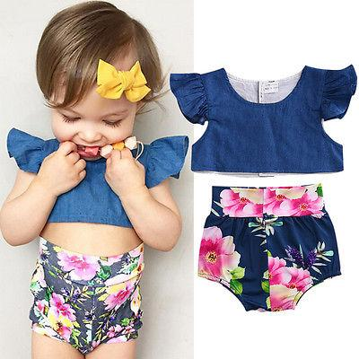 Infant Baby Girls denim crop top + shorts floral print Bottom baby girl  clothing sets summer e2dfb511d