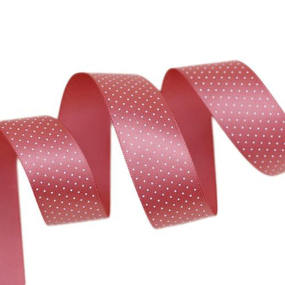 - (5 yards/lot) Small Dots Printed Satin ribbon lovely series ribbons wholesale (25mm&40mm) - Grapefruit / 25mm  jetcube